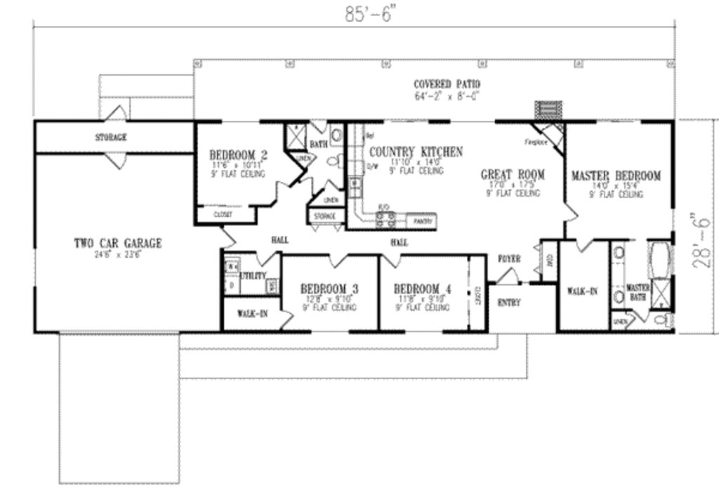 Best Ranch Style House Plan 4 Beds 2 00 Baths 1720 Sq Ft Plan With Pictures