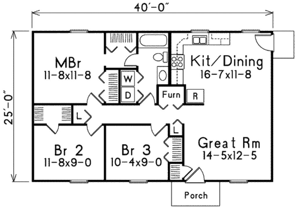 Best House Plan 3 Beds 1 Baths 1000 Sq Ft Plan 57 221 With Pictures