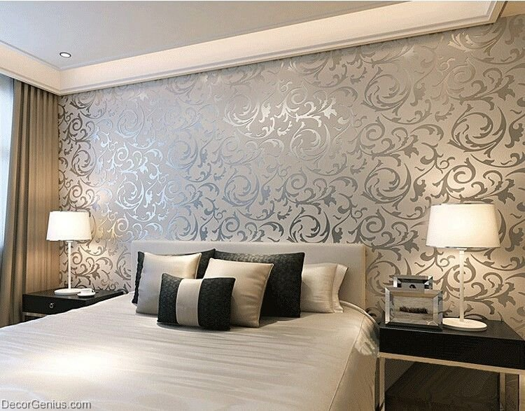 Best Popular 3D Design Silver Bedroom Wallpaper Modern Style With Pictures