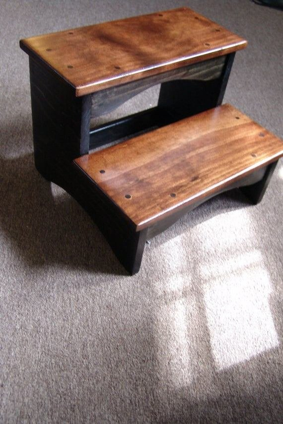 Best Handcrafted Heavy Duty 2 Step Stool Solid Wood Bedside With Pictures