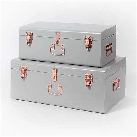 Best Beautify 2 Set Gray Steel Storage Trunk Chest College Dorm With Pictures