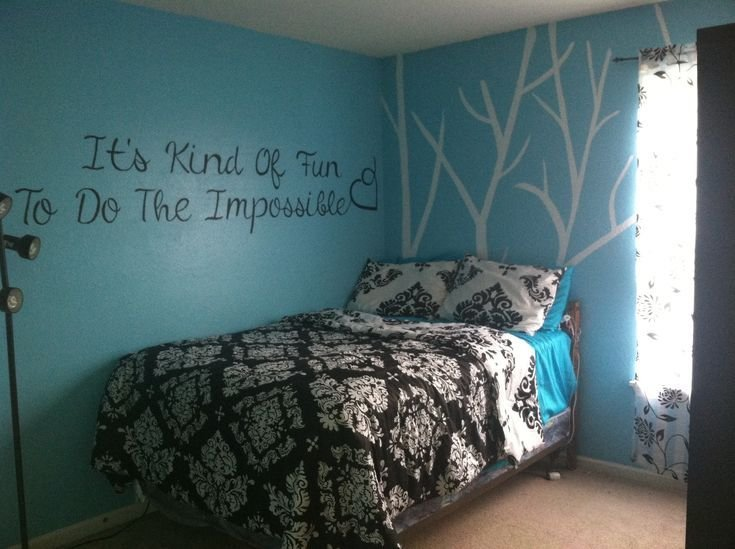 Best Black And Teal Bedroom Completed Pinterest Projects In 2019 Aqua Bedroom Decor Bedroom With Pictures