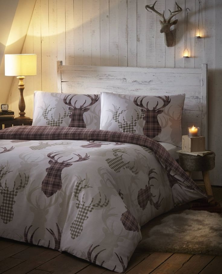 Best Amazon Com Tartan Check Stag Rein Deer Duvet Quilt Cover With Pictures
