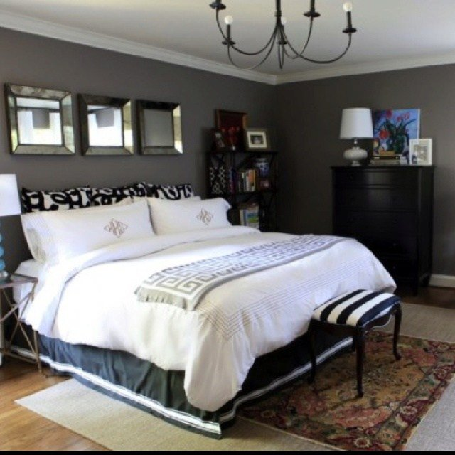 Best Black Furniture With Gray Walls And White Ceiling Room Is With Pictures