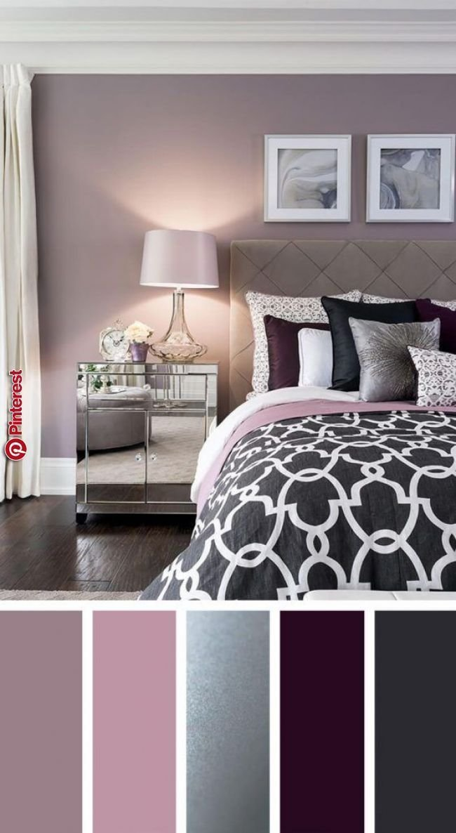 Best Elegant Silver Plum And Lavender Palette Bedroom In With Pictures