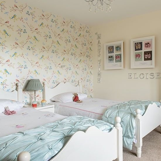 Best Girls Twin Bedroom With Bird Wallpaper Children S Room With Pictures
