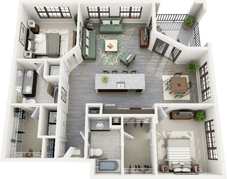 Best 50 Two 2 Bedroom Apartment House Plans Floorplans With Pictures