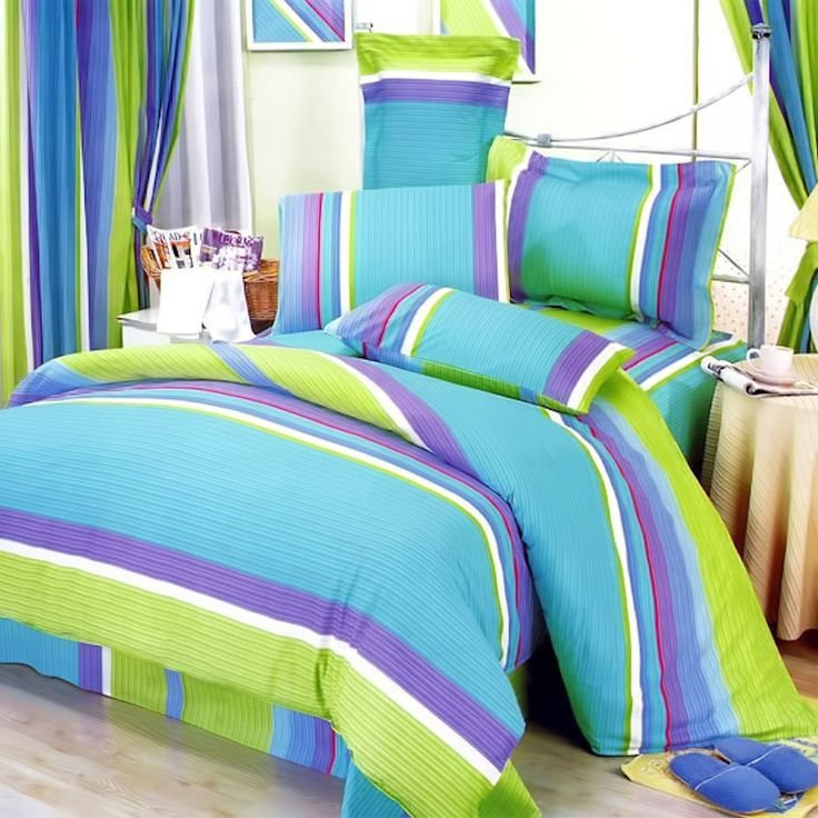 Best Lime Green Blue Purple Stripe T**N Girl Bedding Twin Full With Pictures