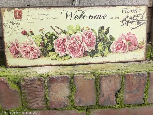 Best Vintage Shabby Rose Sign Shabby Embossed Welcome To Our With Pictures