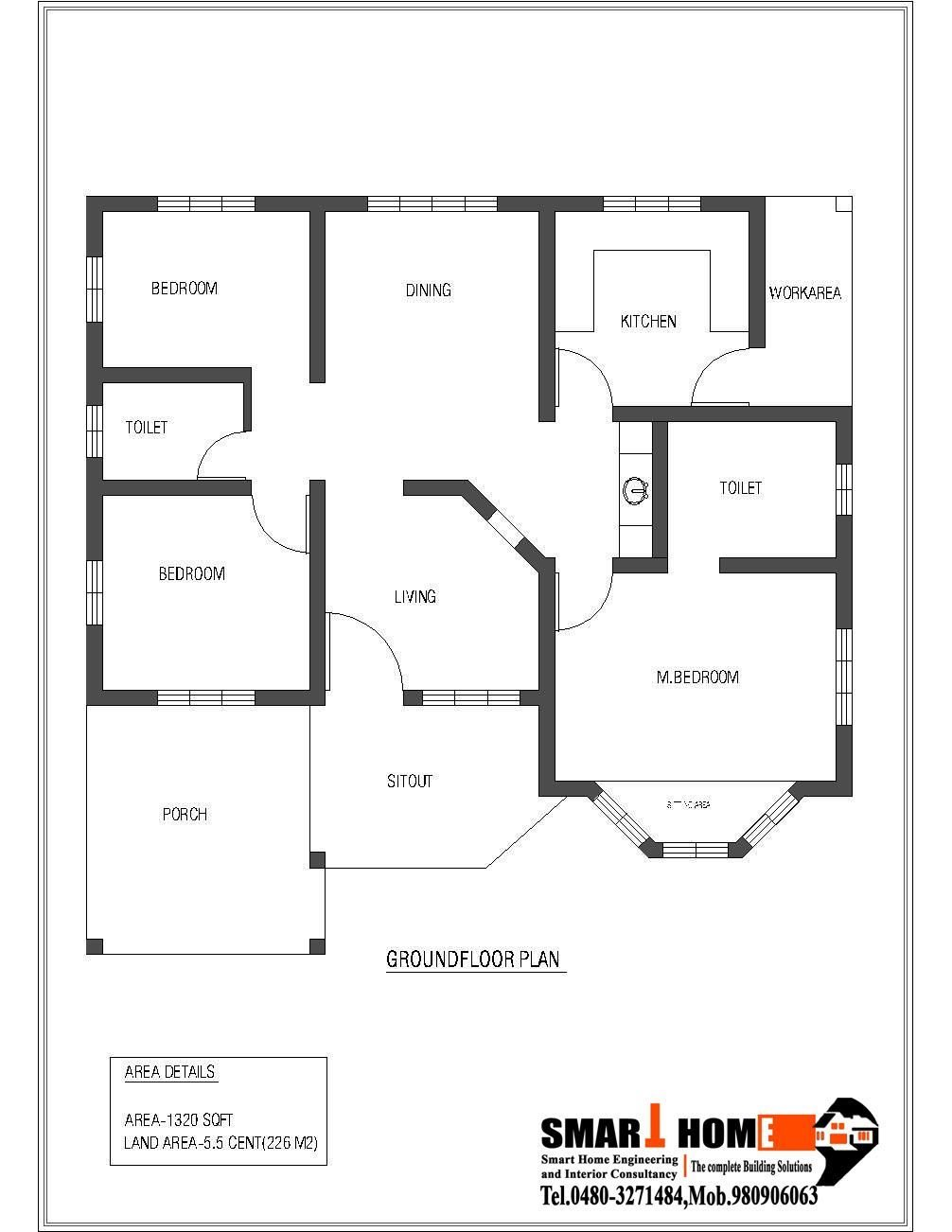 Best 1320 Sqft Kerala Style 3 Bedroom House Plan From Smart With Pictures