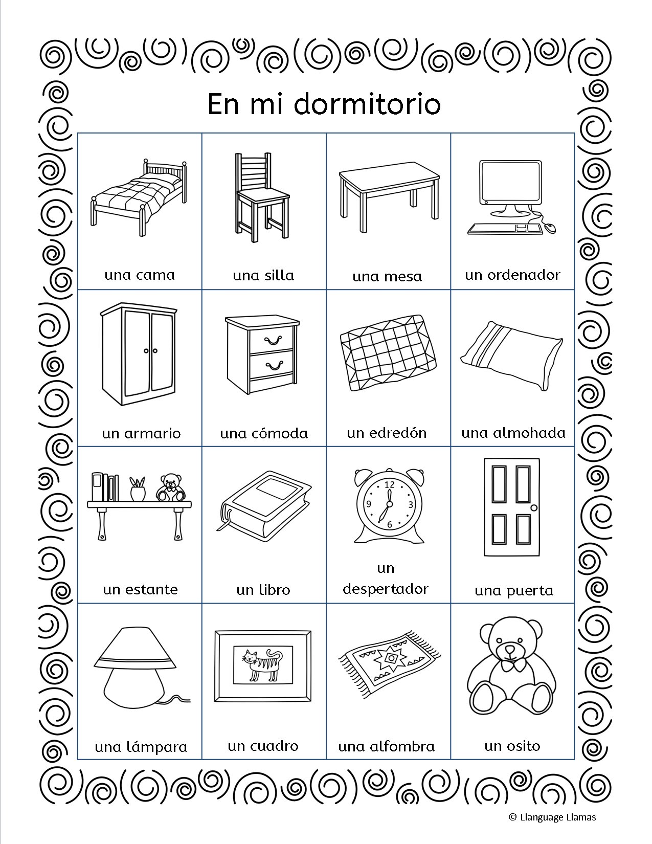 Best Mi Dormitorio Flashcards Word Wall Handout Worksheets With Pictures
