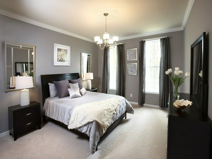 Best Bedroom Gray Beige Carpeted Wall Mirror Black Accents With Pictures