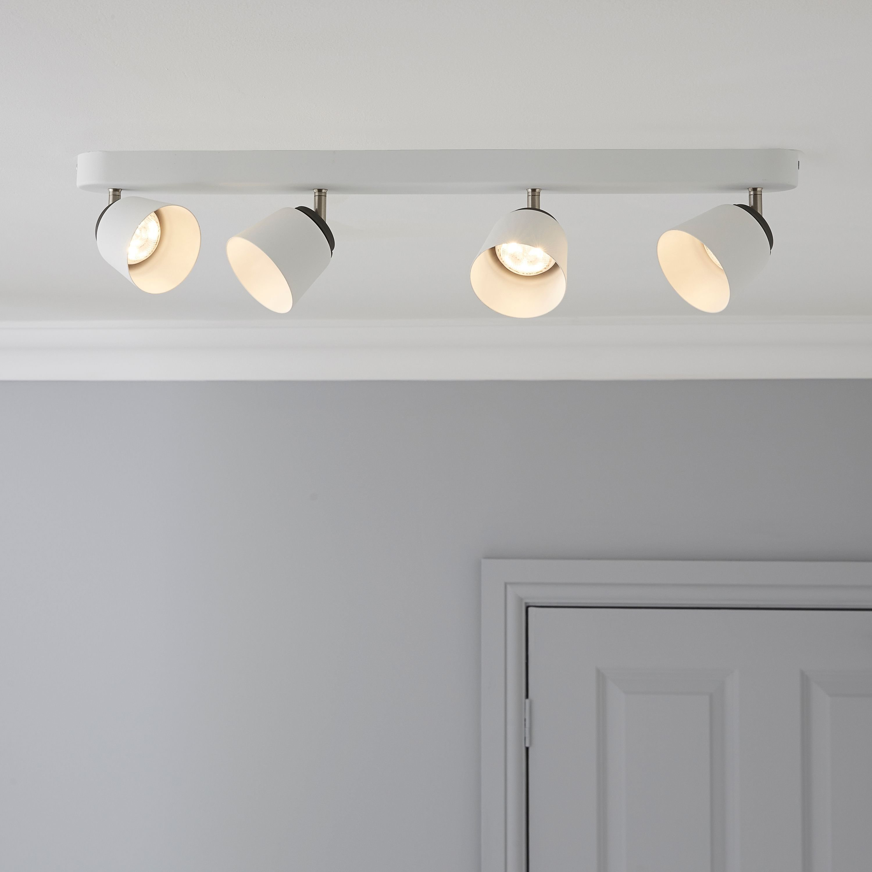 Best Dender County White 4 Lamp Ceiling Spotlight Bar Departments Diy At B Q Lights In 2019 With Pictures