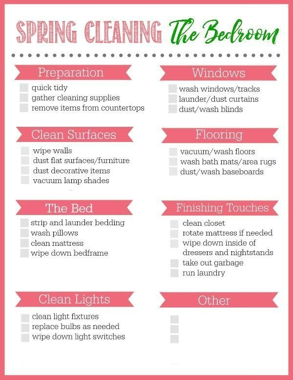 Best Bedroom Spring Cleaning Checklist Cleaning Spring With Pictures