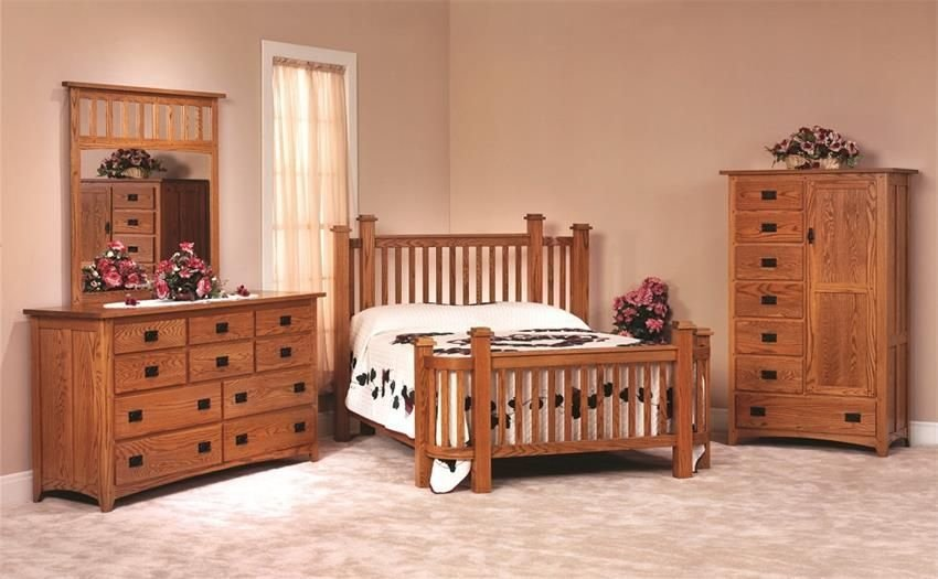 Best Amish Mission Deluxe Oak Wood Bedroom Furniture Set Made With Pictures