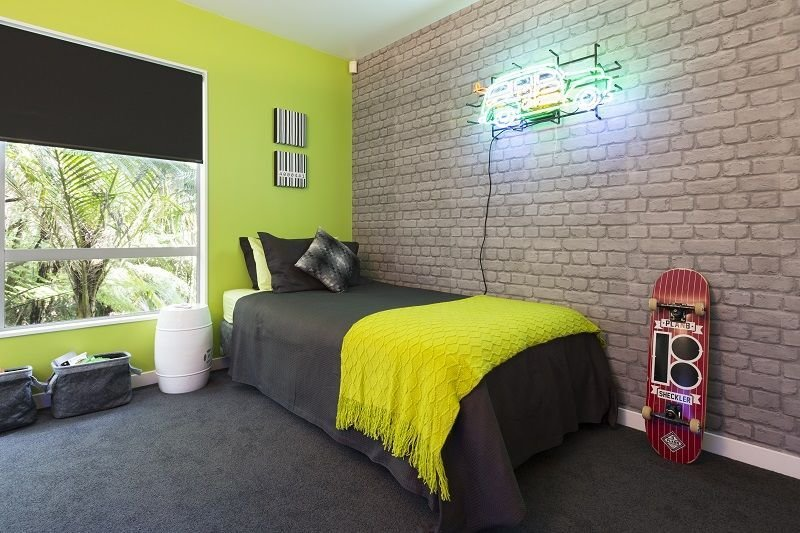 Best The Final Reveal A Zingy Lime Green Wall Teamed With Cool With Pictures