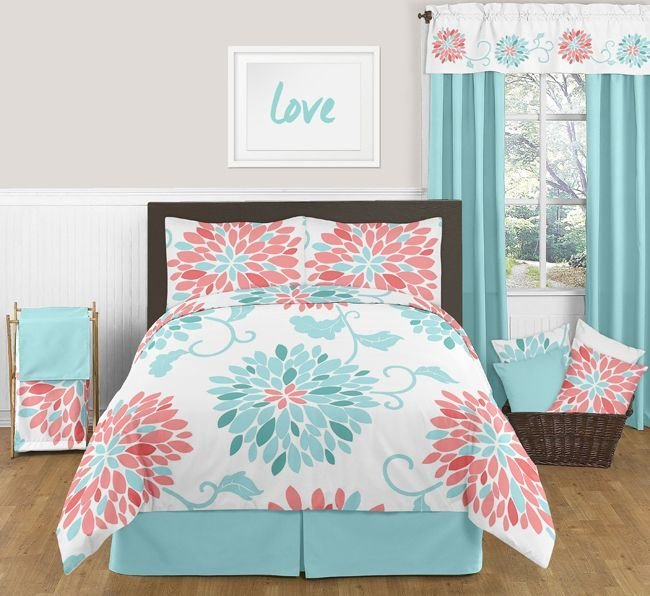 Best Emma Turquoise And Coral Bedding Set Full Queen 3Pc With Pictures