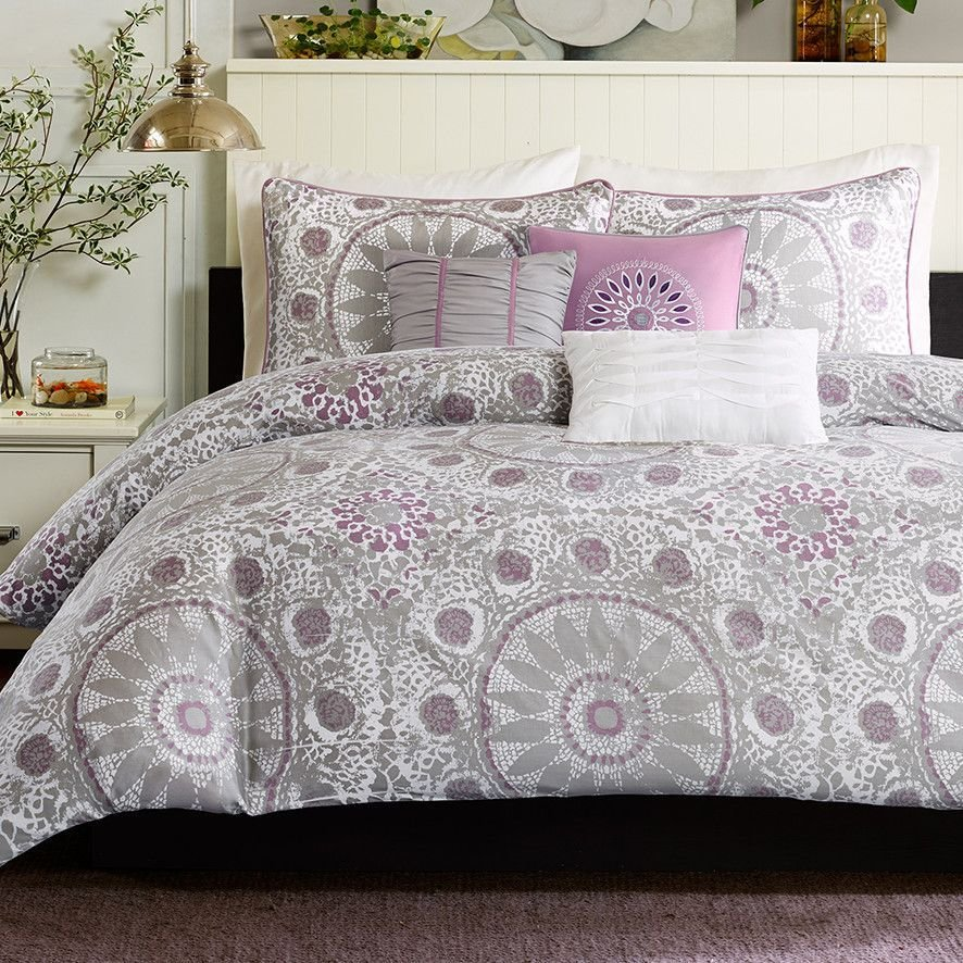 Best Purple And Gray Silver Duvet Set Purple Bedroom Ideas With Pictures