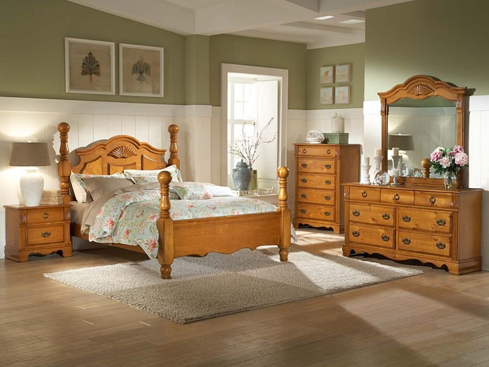 Best Pine Bedroom Furniture Plus Table Lamp And Flower Vase With Pictures