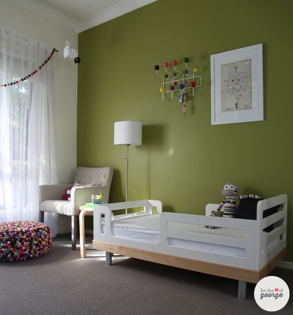 Best Oeuf Toddler Bed With Olive Green Feature Wall And Rainbow With Pictures