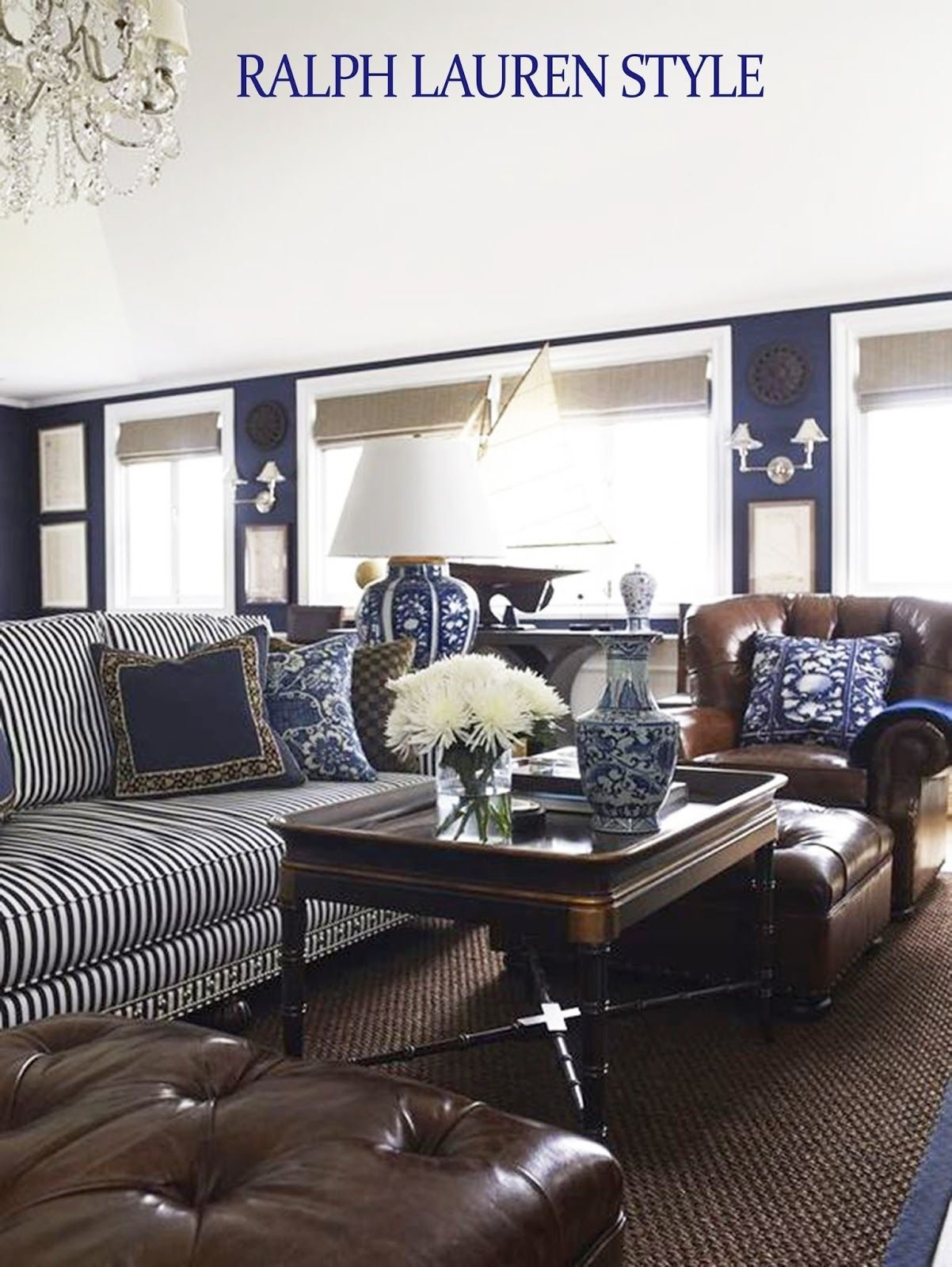 Best Coastal Style Ralph Lauren In Navy Brown Ralph Room Living Room House With Pictures