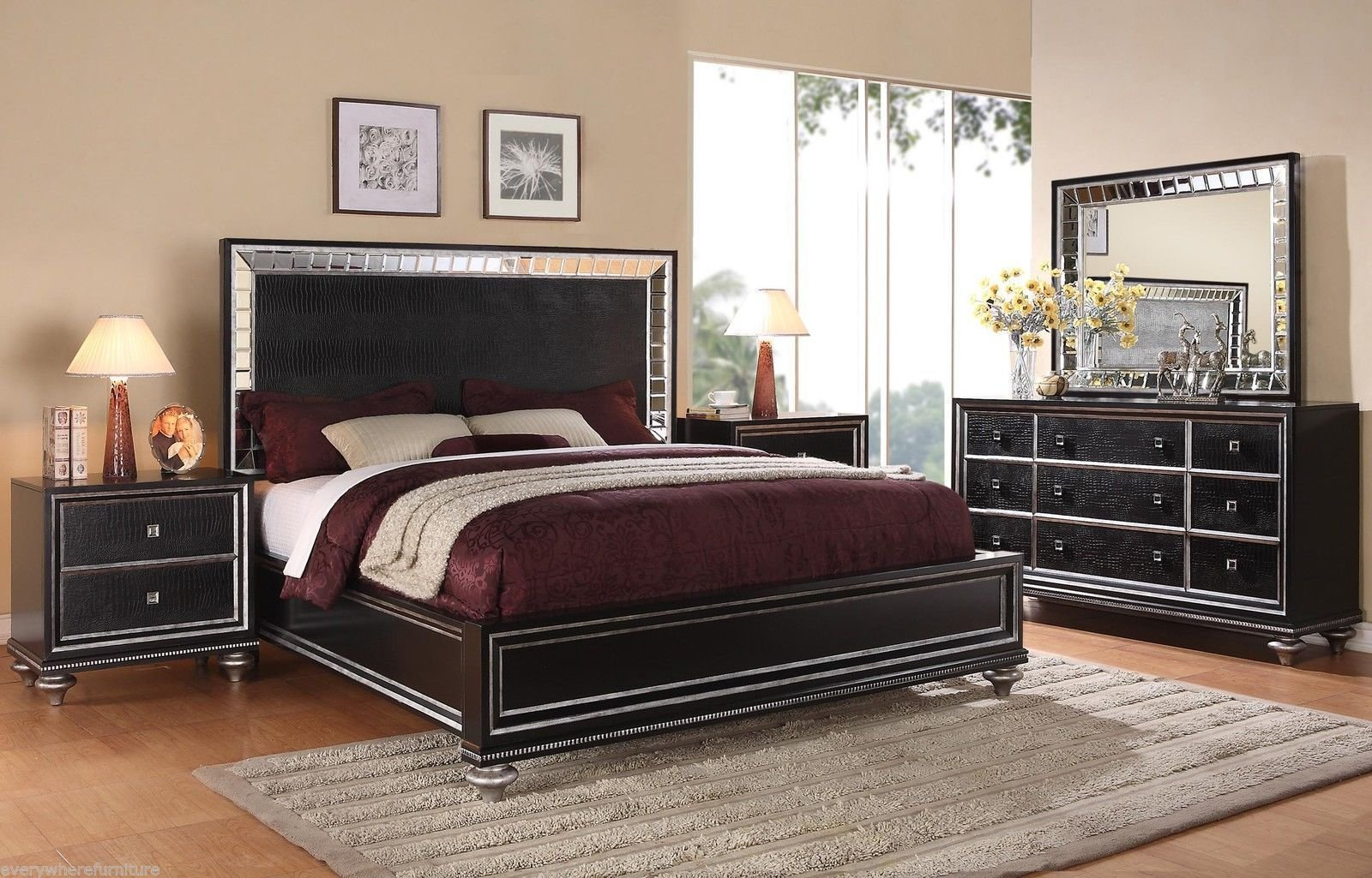 Best Wynwood Glam Black Mirrored King Size Mansion Bed Bedroom With Pictures