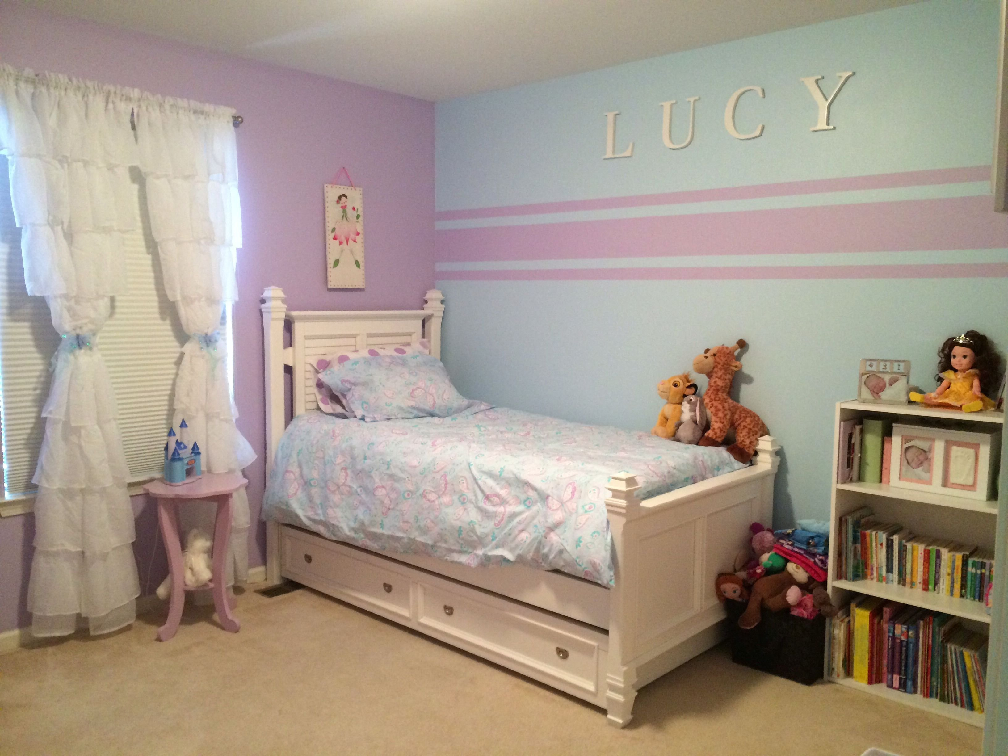 Best Accent Wall Stripes For Little Girl Room Kristin Duvet Set Pottery Barn Kids Blue Paint Soar With Pictures