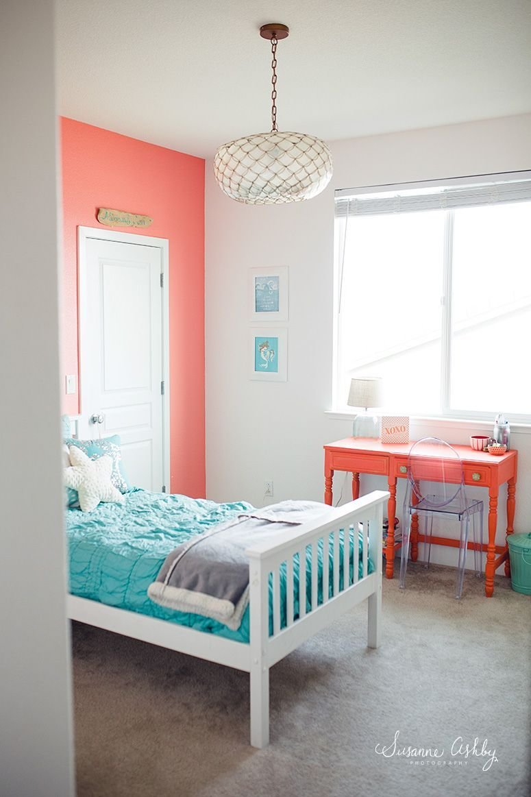 Best Girls Bedroom Coral And Teal Kids Room Decorating Ideas With Pictures