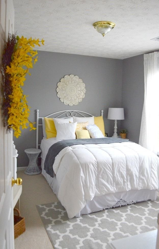 Best Guest Bedroom Gray White And Yellow Guest Bedroom With Pictures