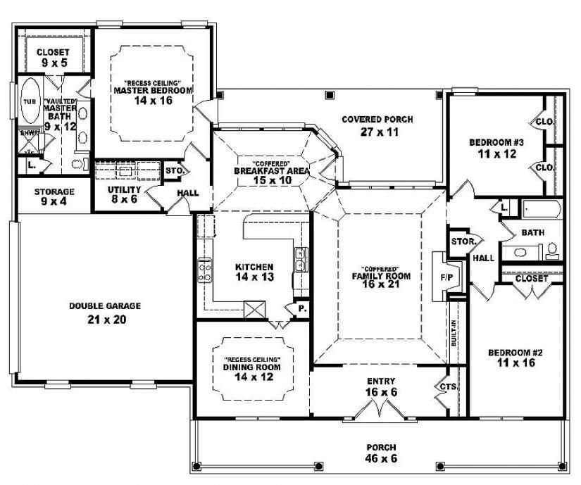 Best One Story Open Floor Plans One Story 3 Bedroom 2 Bath With Pictures