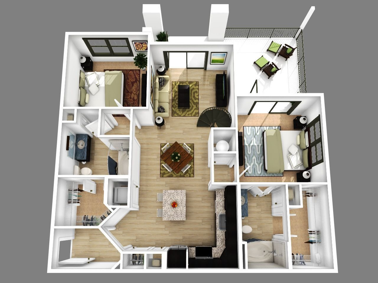 Best 2 Bedroom Apartment Floor Plans 3D Amazing Decoration With Pictures