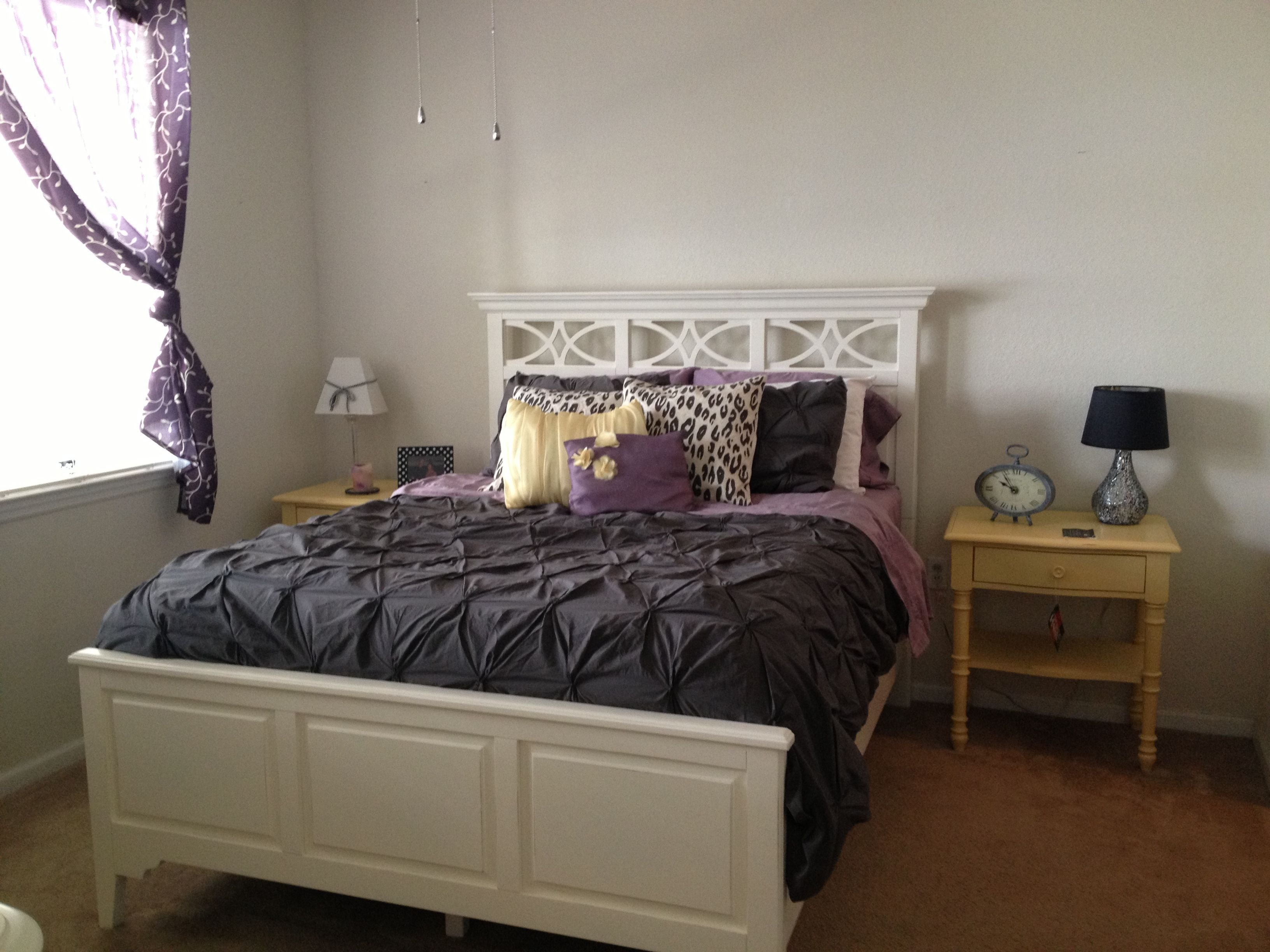 Best Gray Yellow And Purple Bedroom My Current Set Up Not With Pictures