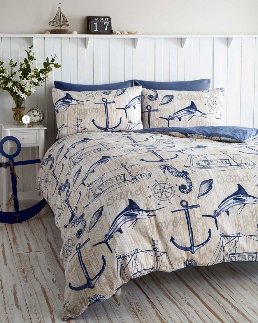 Best Wharf Boat Ship Waves Nautical Anchor Super King Duvet With Pictures