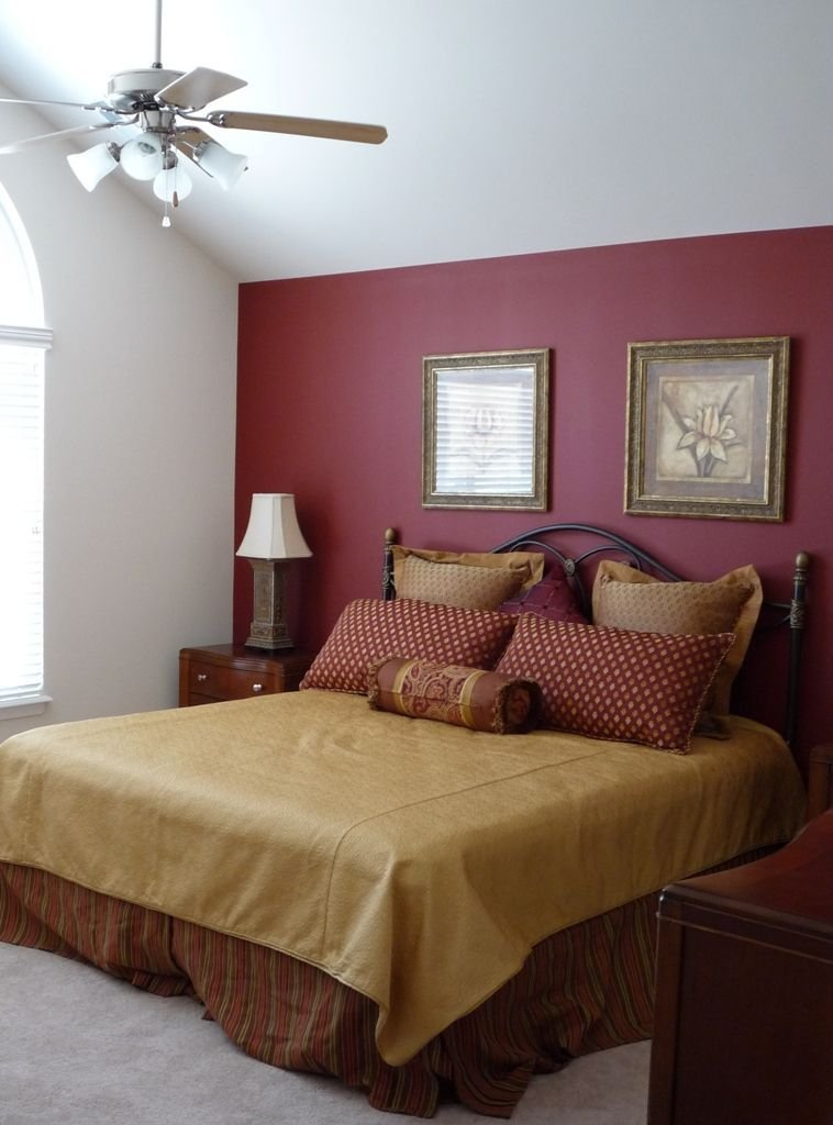 Best Large Master Bedroom With Red Accent Wall Paint New Abbey Model Burgundy Bedroom Red With Pictures