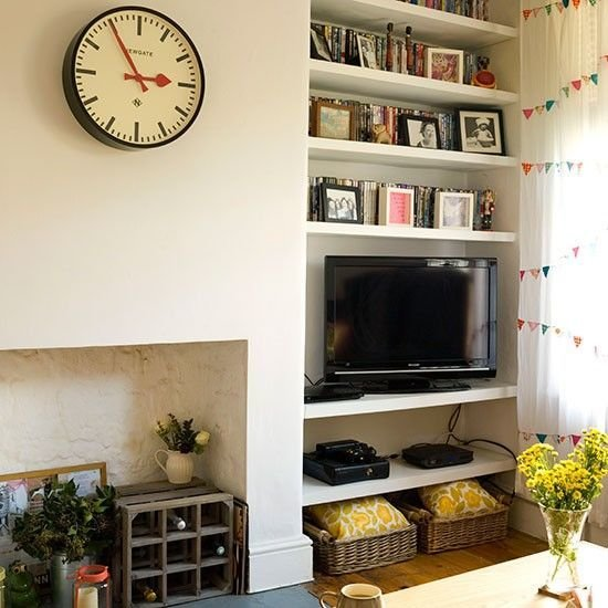 Best Cream Living Room With Alcove Shelves House And Home With Pictures