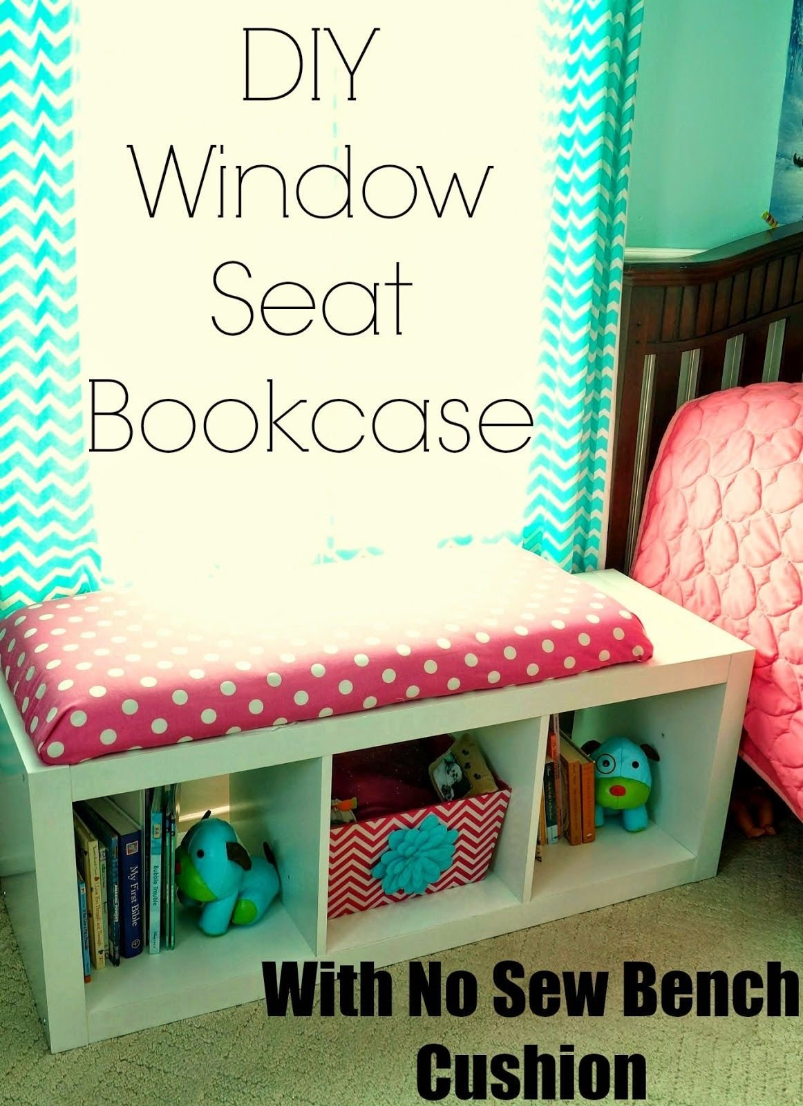 Best Diy Window Seat Bookcase With No Sew Bench Cushion With Pictures