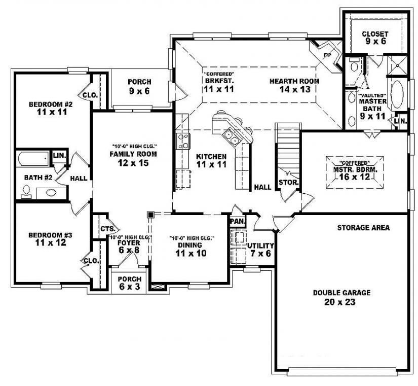 Best Single Story Open Floor Plans One Story 3 Bedroom 2 With Pictures
