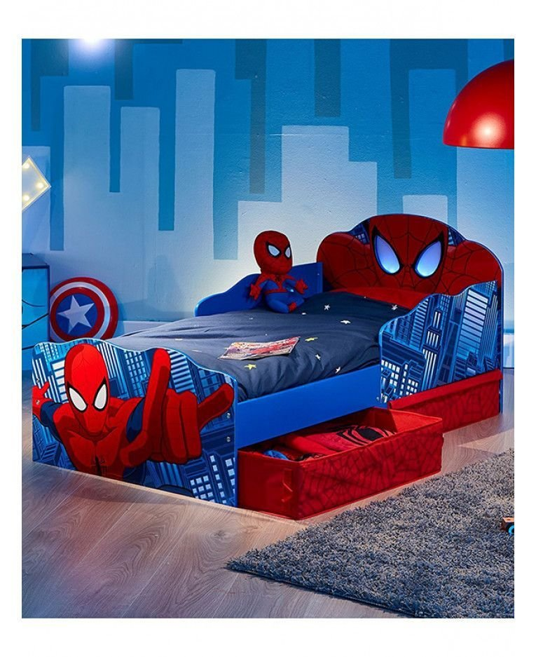 Best Spiderman Toddler Bed With Storage And Light Up Eyes In With Pictures