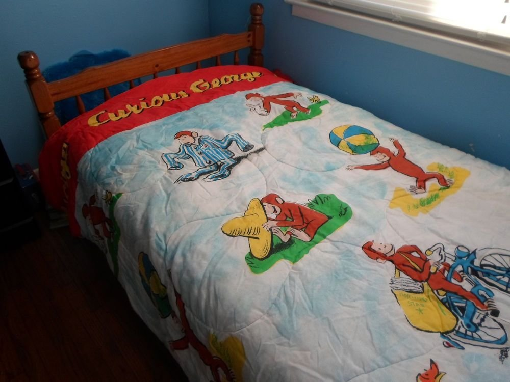 Best Vintage Curious George Bedding Twin Size Kids Comforter Blanket 80S Reversible 1980S Toys With Pictures