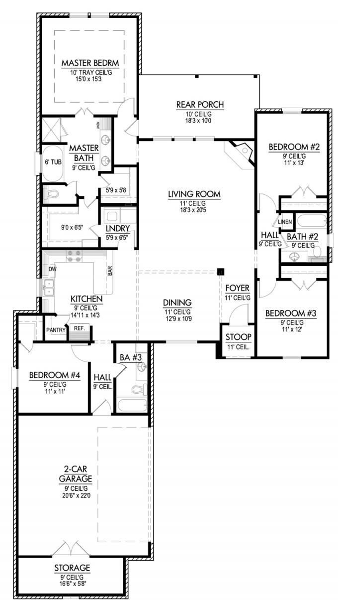 Best 653643 Four Bedroom Triple Split House Plan House Plans Floor Plans Home Plans Plan It With Pictures