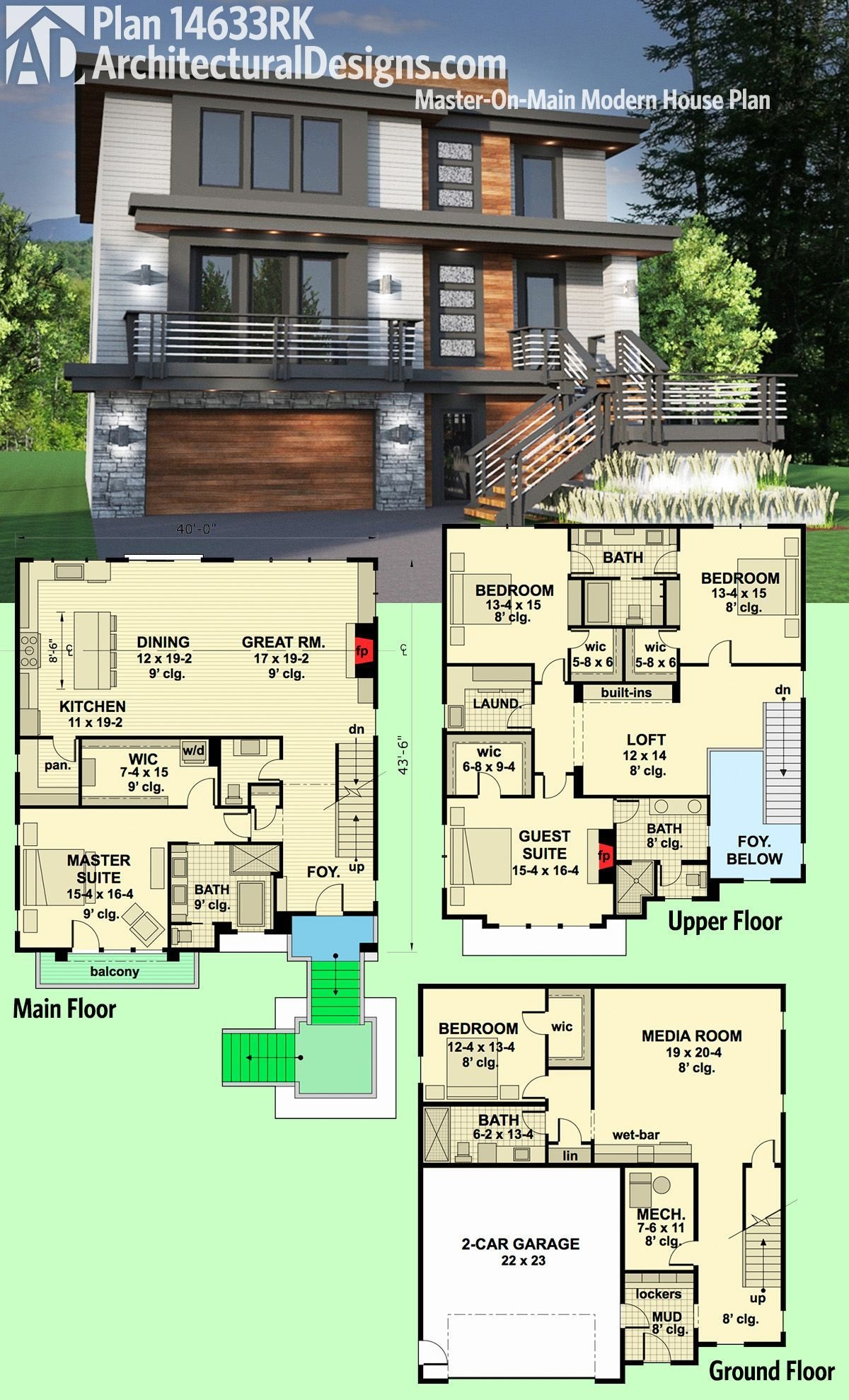 Best Plan 14633Rk Master On Main Modern House Plan In 2019 With Pictures