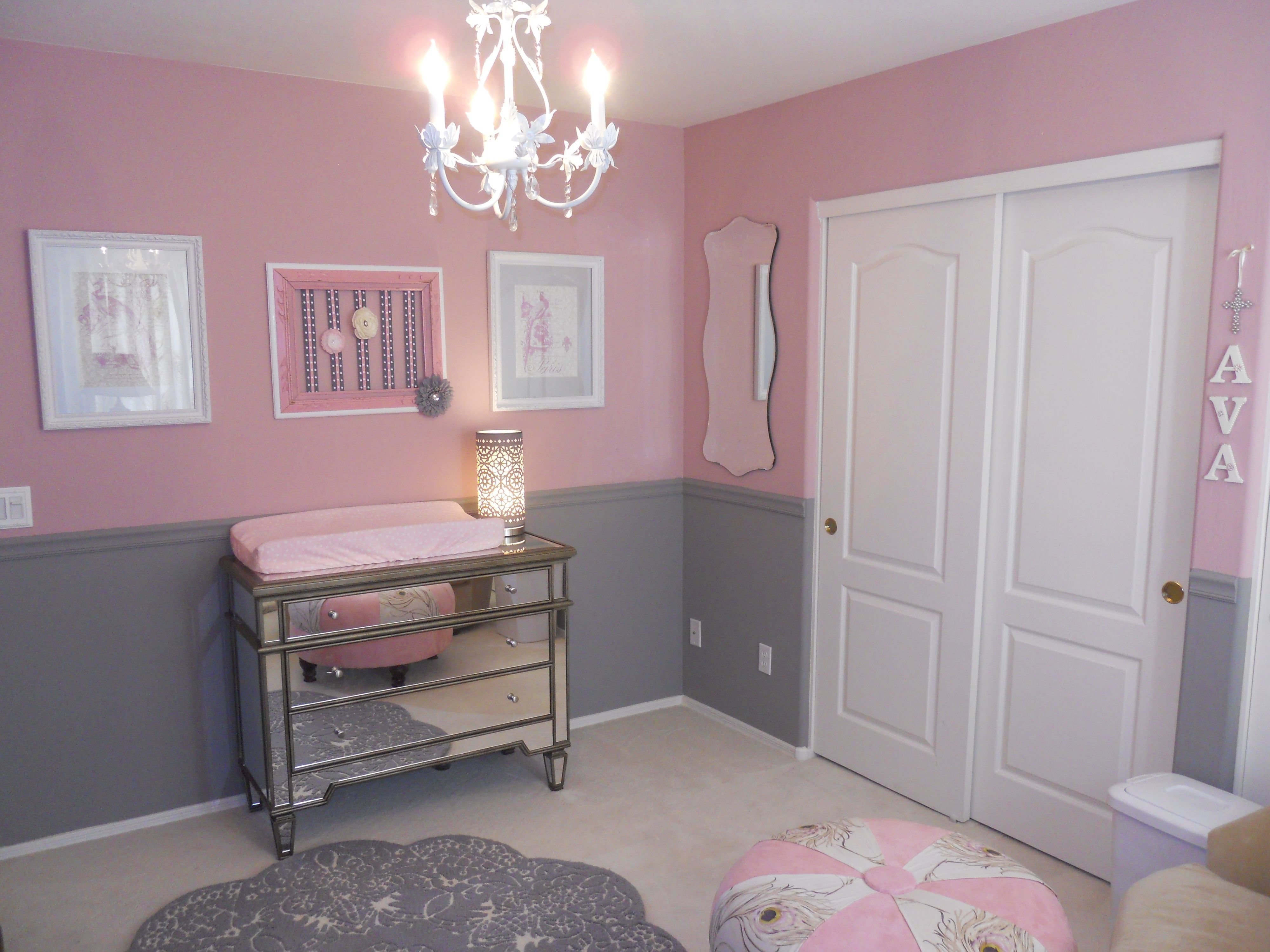 Best Pink And Gray Girly Room Pink Gray Nursery Nursery With Pictures