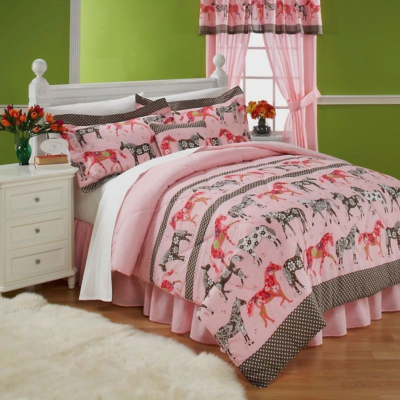 Best Horse Bedding For Teens Mustang Sally Horses Pink With Pictures