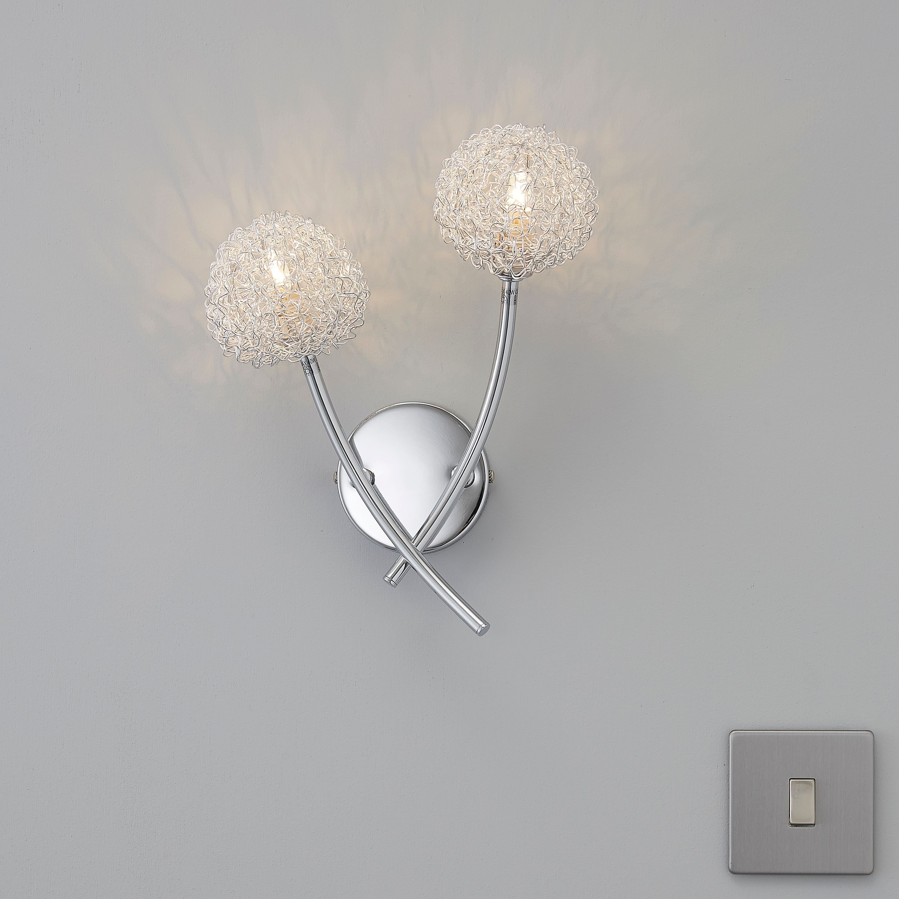 Best Pallas Chrome Effect Wall Light Departments Diy At B Q With Pictures