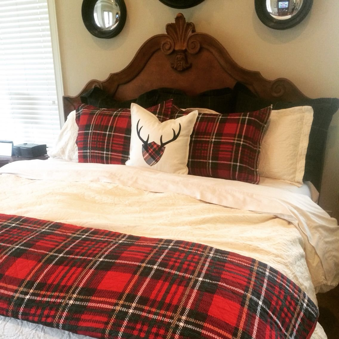 Best Christmas Bed With Red Tartan Navy Plaid And Cream With Pictures