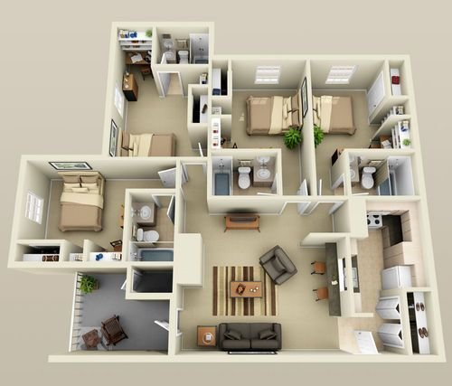 Best 4 Bedroom Small House Plans 3D Smallhomelover Com 2 With Pictures
