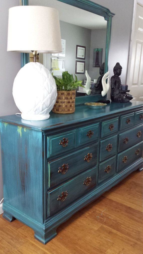 Best Hand Painted Teal Dresser Patina Green Blue Turquoise With Pictures