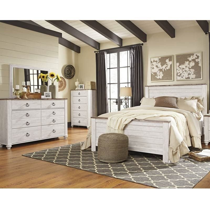 Best Willowton Two Tone White Wash Queen Bedroom Set Ashley With Pictures