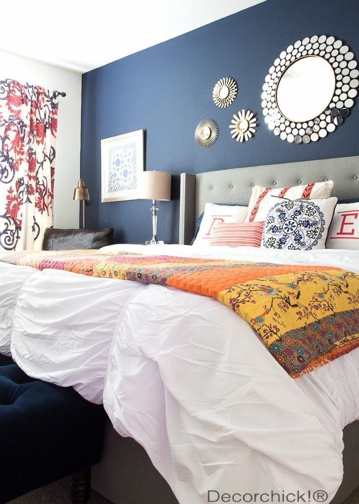 Best Navy And Orange Bedroom Refresh With New Bedding From With Pictures