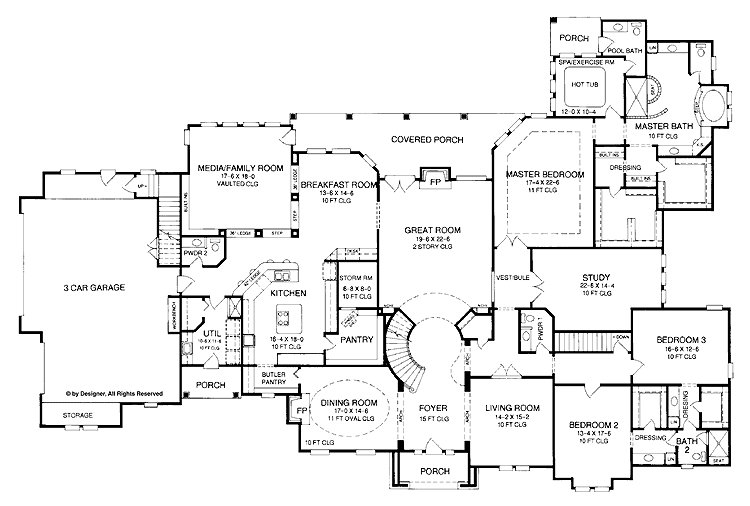 Best 4 5 Bedroom One Story House Plan With Exercise Room With Pictures